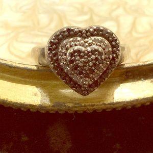 Jewelry - 925 Sterling Black/White Diamond Chip Heart Ring